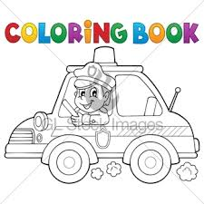police car coloring book gl stock images
