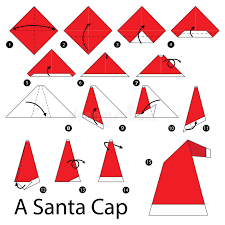 How To Make A Origami Santa - step by step how to make origami a santa cap stock