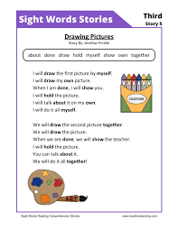 this reading comprehension worksheet drawing pictures is for