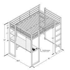 stylish full size metal loft bed abode full metal loft bed over