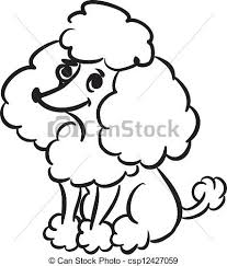 clipart vector of funny poodle black and white sketch of funny