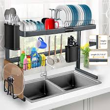 kitchen sink cabinet height the sink dish drying rack stainless steel sink dish drying rack height 1 21 8 length 23 7 33 5 adjustable for dishes and