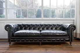 Chesterfield Sofa Covers Furniture Black Leather Tufted Chesterfield Sofa With Nails