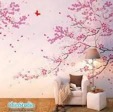 cherry decorations for home cherry blossom tree wall decals with butterfly wall stickers home