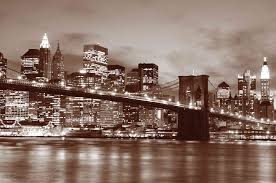 Reusable Wallpaper by Brooklyn Bridge At Night In Sepia Colour Wall Mural 12 U0027wide By 8