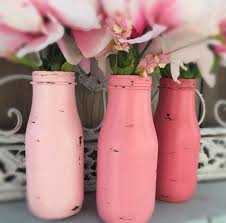 glass milk bottle vase 3 shabby chic painted pink ombre glass milk bottles flower bud