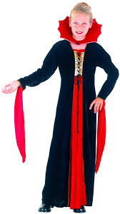 Vampire Costumes For Girls Long Red And Black Vampire Costume For Girls Vegaoo