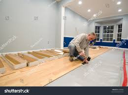 Rubber Laminate Flooring Man Using Rubber Mallet Tapping Block Stock Photo 2600866