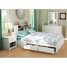 Bookcase Bedroom Sets Vito White Queen Storage Bed With Bookcase Headboard Dcg Stores