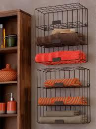 Wood Bathroom Towel Racks Furniture Five Wooden Floatings Helves On The Wall Connected By