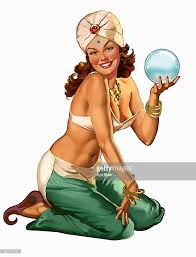 pin up girl costume retro vintage pinup girl fortune teller in costume stock