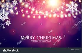 Happy New Year Stage Decoration by Christmas Background Lights Snowflakes New Year Stock Vector
