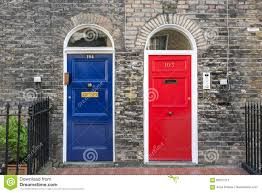 blue and red front doors stock image image of numbers 69527215