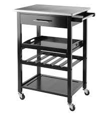 rolling black stainless steel top serving bar cart w wine rack