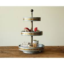galvanized cake stand birch tabor galvanized 3 tier stand reviews wayfair
