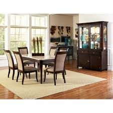 piece faux marble top dining room set in dark cherry beyond stores