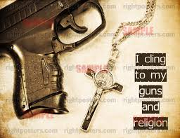 cling to guns and religion poster