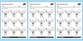 mixed number bonds to 10 on robots worksheet free resources