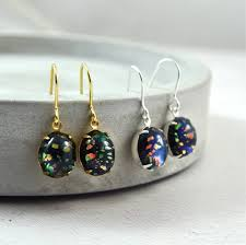 turquoise opal earrings black fire opal earrings in gold or silver by penny masquerade