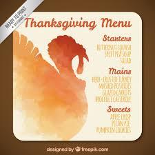 watercolor thanksgiving turkey menu vector free