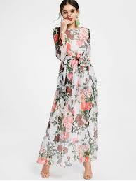 maxi dress floral print sleeve belted maxi dress white maxi dresses m