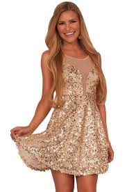 juniors deep v neck mesh insert lovely gold sequins fit n flare