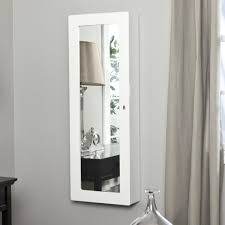 Jewelry Mirror Armoire Furniture White Traditional Wall Mount Jewelry Armoire With