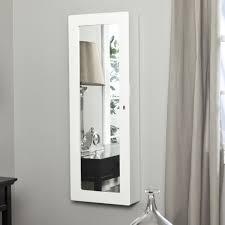 Wall Mirror Jewelry Armoire Furniture White Traditional Style Wall Mount Jewelry Armoire With