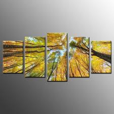 low price for framed home wall decor yellow trees crown photo