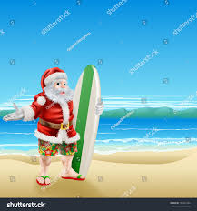 Summer Santa Beach Wear Long Board Stock Vector Royalty Free