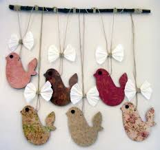 Hanging Paper Bird Decorations Make A Wallhanging With Birds And Birdcages Http