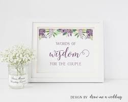 bridal shower guestbook words of wisdom purple bridal shower advice for newlyweds
