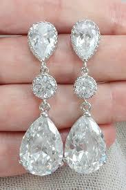 teardrop chandelier earrings cubic zirconia statement earrings for a wedding dress amanda