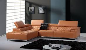 italian leather sofa sectional divani casa citadel modern orange leather sectional sofa w audio