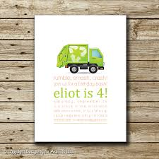 garbage truck birthday invitation garbage truck invite garbage