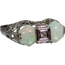 belais 14k white gold opals diamond art deco filigree ring from
