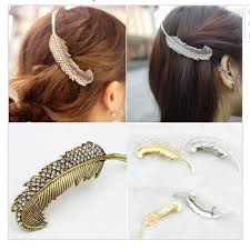 hair clasp vintage feather hair clip antique gold hair clasp jewelry
