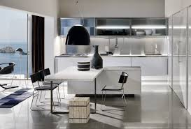 kitchen stunning futuristic kitchen with curvy metal bench and
