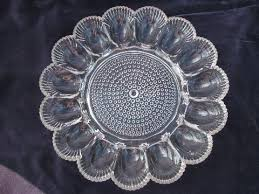 glass egg plate vintage pressed pattern glass divided glass egg plate