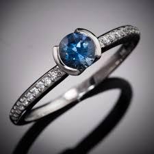 engagement rings australia blue australian sapphire half bezel diamond pave engagement ring