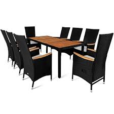 poly rattan garden furniture table and chair set 8 seater outdoor