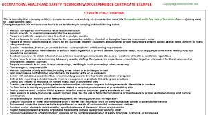 Occupational Health And Safety Resume Examples by Occupational Health And Safety Technician Work Experience Certificate