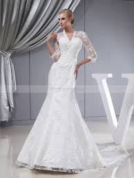 modest wedding dresses with 3 4 sleeves beaded lace and satin three quarter sleeves wedding dress