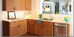 pictures of subway tile backsplashes in kitchen remodelaholic white subway tile back splash tutorial
