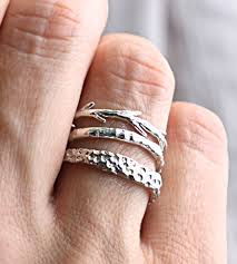 ring set coral twig textured stacking ring set jewelry rings colby