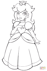 beautiful princess peach coloring free printable coloring pages