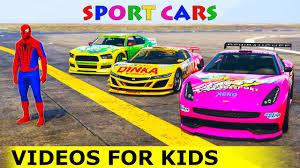 color cars party with spiderman sport car cartoon nursery rhymes
