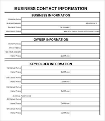 contact information form template 5 contact info templates