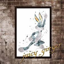 bugs bunny poster bugs bunny watercolor home decor art