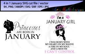 january svg vector cut file bundle 4 in 1 printable january